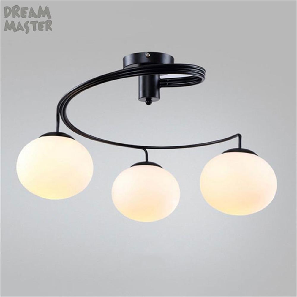 3/5 pz bianco di vetro Smerigliato paralumi lampadari a soffitto di lustro a spirale scivolo lampadario camera da letto sala da pranzo del capretto cerchio decoracion lampada