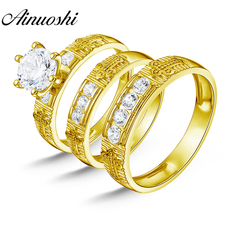AINUOSHI Real Gold TRIO Rings Set 10K Solid Yellow Gold Couple Wedding Engagement Rings Cross Pattern Male Band Bridal Rings SetAINUOSHI Real Gold TRIO Rings Set 10K Solid Yellow Gold Couple Wedding Engagement Rings Cross Pattern Male Band Bridal Rings Set