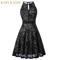 Kate Kasin 2017 Short Evening Dress Sleeveless Vintage Black Formal Gowns Lace Mother Of The Bride