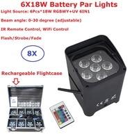 Перезаряжаемые пакет для полетов 6 18 Вт RGBWY UV 6IN1 DMX беспроводной батарея Par огни 0 30 градусов угол луча ИК пульт дистанционного управления/Wi Fi у
