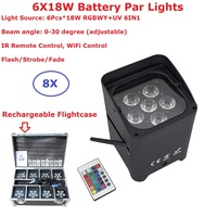 Rechargeable Flightcase Pack 6X18W RGBWY UV 6IN1 DMX Wireless Battery Par Lights 0 30 Degree Beam Angle IR Remote/WiFi Control