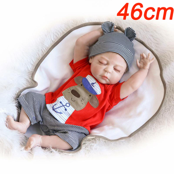 46cm Bebes reborn menino full vinyl silicone reborn baby dolls toys for children gift real baby sleeping boy dolls