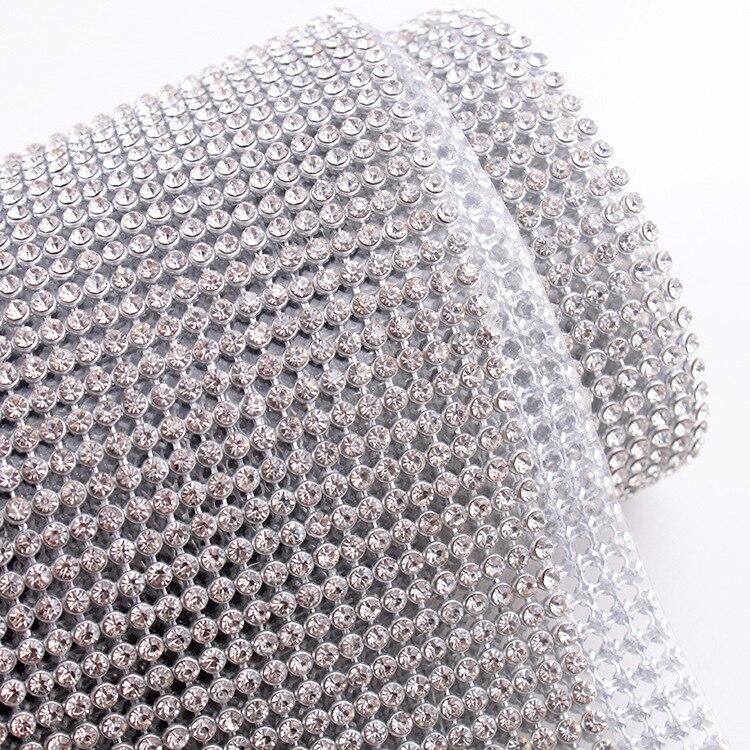 Argent en aluminium maille 45*120 CM SS8 Cristal Strass Correctif maillage diamant pour strass Motif