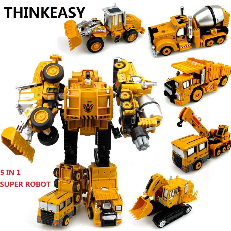 ThinkEasy 5 IN 1 Transformation Robot City Truck Team Car / Ship / Helicopter / Motorcycle ABS + Alloy Children Toy Gift in vitro regeneration and genetic transformation of pigeon pea