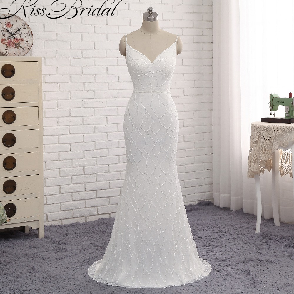Charming spaghetti strap beach wedding dresses 2017 sexy for Spaghetti strap backless wedding dress