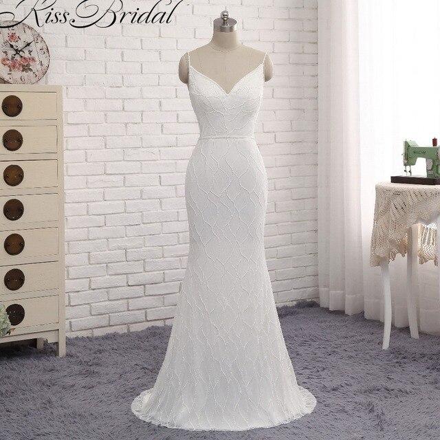 encanto de la correa de espagueti de la playa vestidos de novia 2017