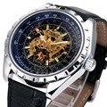 Top De Luxo Mens Auto Mecânica Relógios De Pulso VENCEDOR Marca Esqueleto Masculino Relógios Blue Ray de Trabalho Sub-dial Mãos Luminosas + CAIXA
