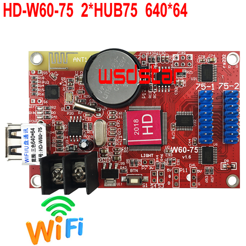 HD HD W60 75 Full Color WIFI LED Control Card 640 64 2 HUB75B USB WIFI