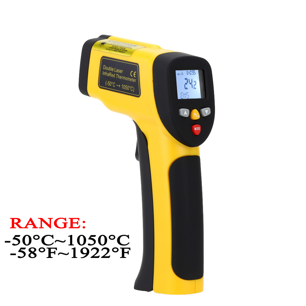 Digital Infrared Thermometer Double Laser High Precision IR temperature gauge Tester Pyrometer -50-1050C( -58-1922Fahrenheit)