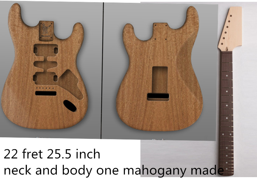 Unfinished st electric guitar body and neck 2# 1pcs mahogany made high quality high quality custom shop lp jazz hollow body electric guitar vibrato system rosewood fingerboard mahogany body guitar