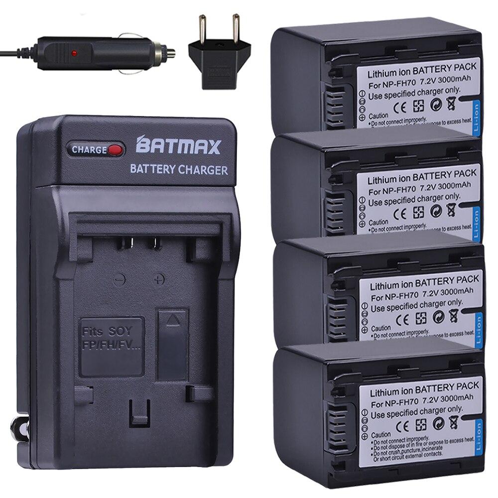 4 pièces NP-FH70 NP FH70 NPFH70 Caméra Batterie + Chargeur Kits pour Sony FH100 A230 A330 A290 A380 Alpha DSLR DSC-HX1 HX100 HX100V