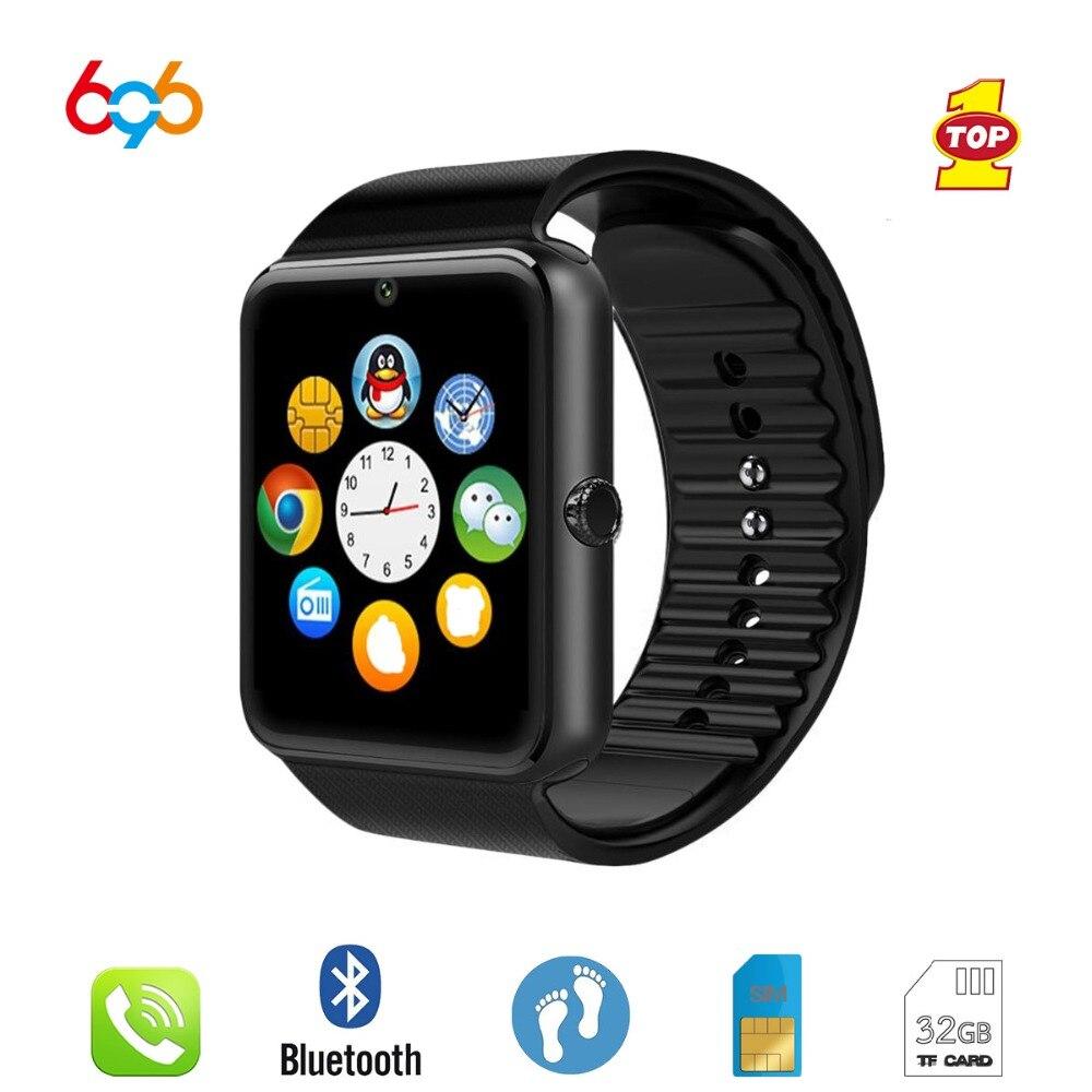 696 Bluetooth montre intelligente GT08 horloge synchronisation notifiant prise en charge fente pour carte Sim Message poussoir connectivité Android et IPhone Smartwatch