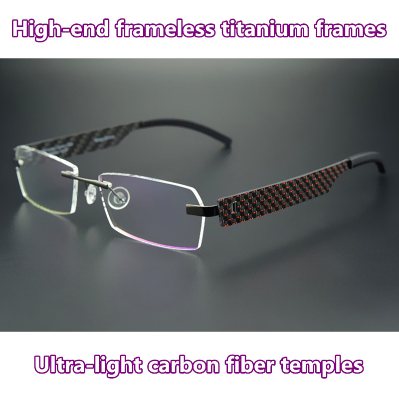 792493ae55756 Frameless glasses frame tag Hezekiah Brand titanium eyeglasses Fashion  Business Carbon Fiber computer prescription spectacle -in Eyewear Frames  from Apparel ...