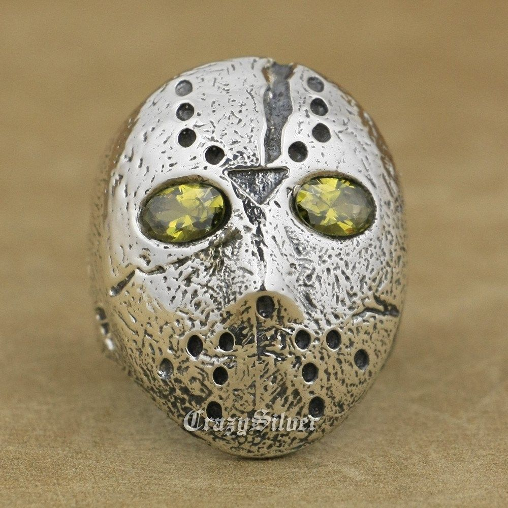 925 Sterling Silver Halloween Jason Mask Black Olive Eyes Mens Ring 9D104 US Size 8~14 monster printed halloween decor head mask page 8