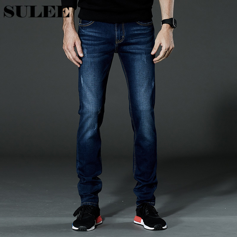SULEE Brand New Fashion Men Jeans Slim Denim Overalls Skinny Winter Jeans Homme Mens Warm Print Stretch Casual  Plus size 44 46 2016 brand mens denim overalls fashion bib jeans skinny overalls for men hole slim black and white suspender pants m xxl