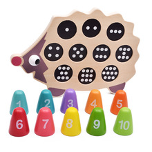 Dental House Educational Wooden Montessori Leksaker Math Toy Cartoon Färgglada Hedgehog Matching Numerals Spädbarn Baby Födelsedag Gift