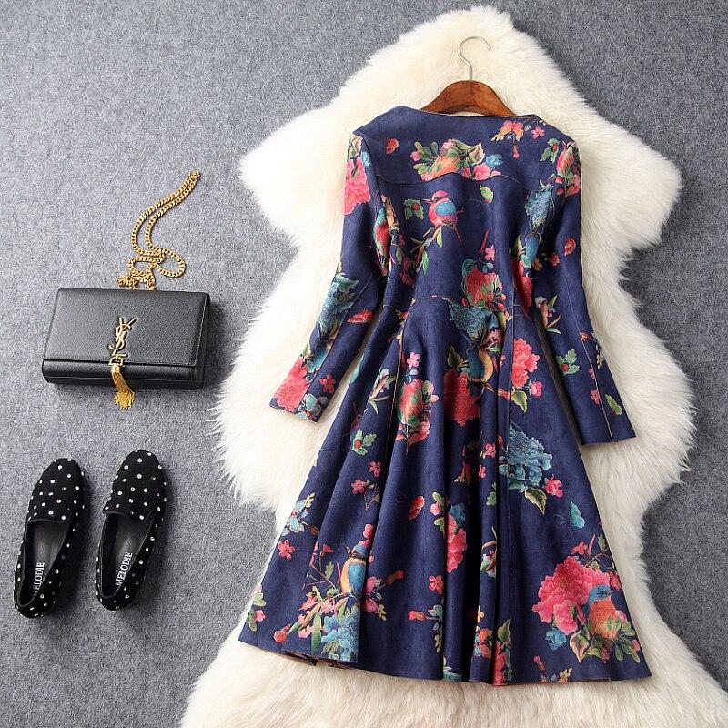 d3491525c0 Jesień zima suknie runway projektant womans dark blue suede tkaniny różowy  niebieski kwiat wydruku dekolt boczny pas wysokiej jakości sukienka w  Jesień zima ...