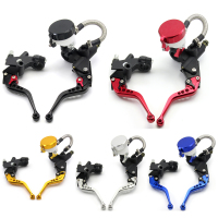 7 8 22mm Universal Motorcycle Brake Clutch Levers Master Cylinder Kit Fluid Reservoir Set 5 Colors