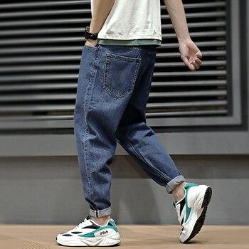 78c17362927 Летние модные мужские джинсы в стиле ретро синий простой свободный крой  шаровары уличная Винтаж японский Стиль классические зауженные джи.