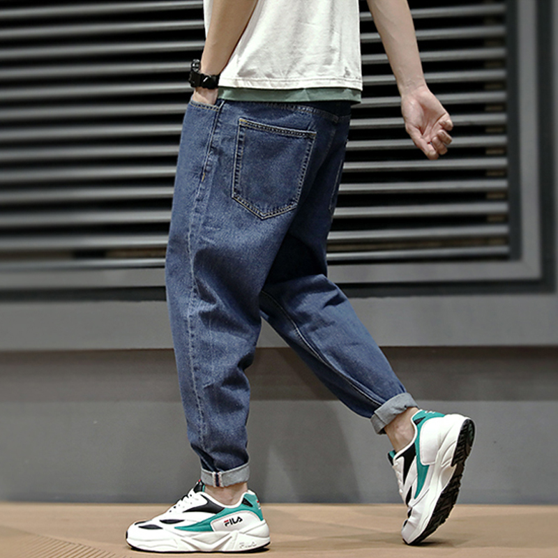 Summer Fashion Men   Jeans   Retro Blue Simple Loose Fit Harem Pants Streetwear Vintage Japanese Style Classical Taper   Jeans   Men