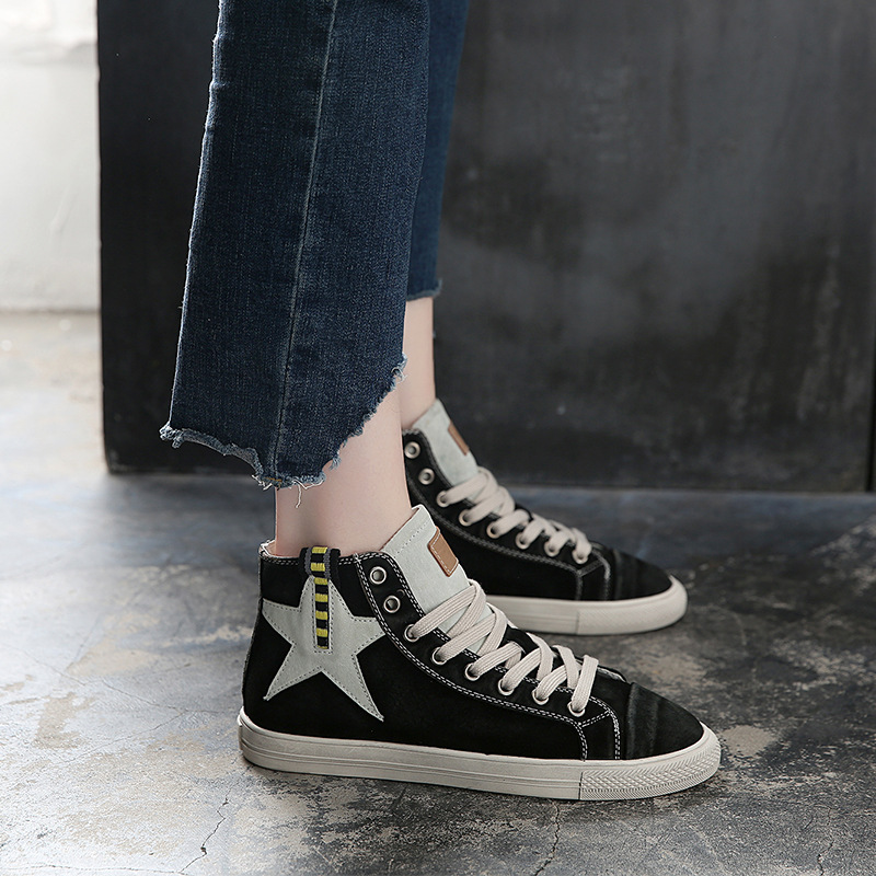 Jookrrix Glitter Shoes Women Fashion Brand Lady Casual Sneaker High Top With Star chaussure Cross-tied Female footware Sequin star sequin sheer mesh top