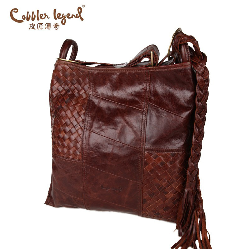 Cobbler Legend Famous Brand 100% Genuine Cowhide Leather Lady Braided Bag women