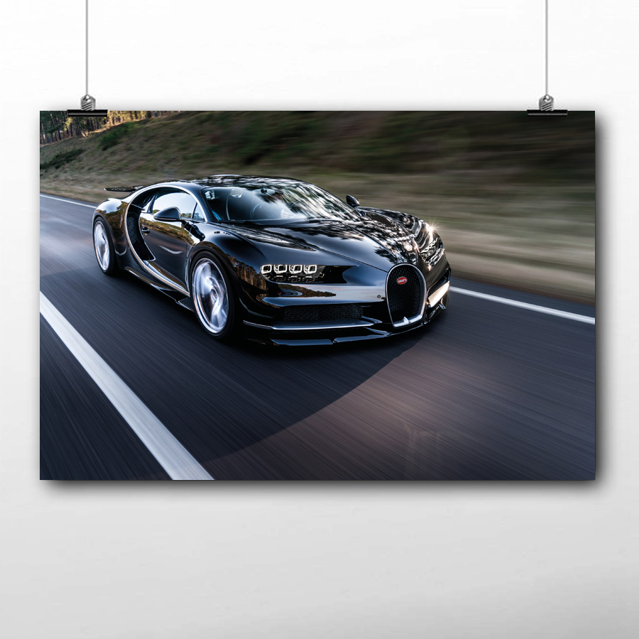 Bugatti Veyron 30x20 Inch Canvas Supercar Framed Picture Poster