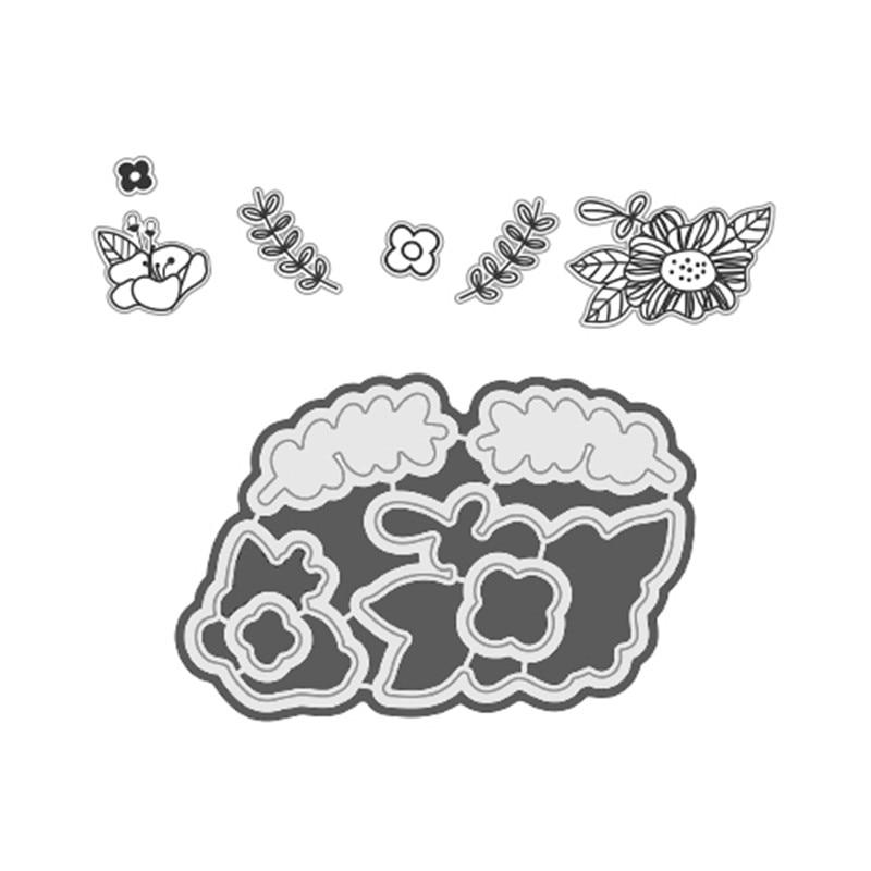 YaMinSanNiO Plant Flower Background Metal Cutting Dies for Scrapbooking Craft Dies New Embossing Stencil Card Decoration in Cutting Dies from Home Garden
