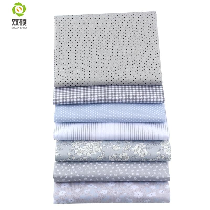 Amicable Shuanshuo 7pcs/lot Lattices&stripes Print Patchwork Fabric Fat Quarter Bundles Cotton Fabric For Sewing Doll Cloths 40*50cm Dependable Performance