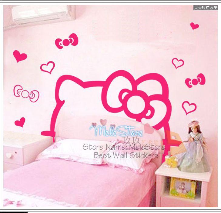 Cartoon Hello Kitty Cute Girl Bedroom Bed Head Sticker