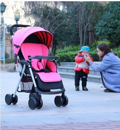 Carro do bebê pode se sentar reclináveis carrinho guarda-chuva leve carrinho de amortecedores do carro portátil carrinho leve