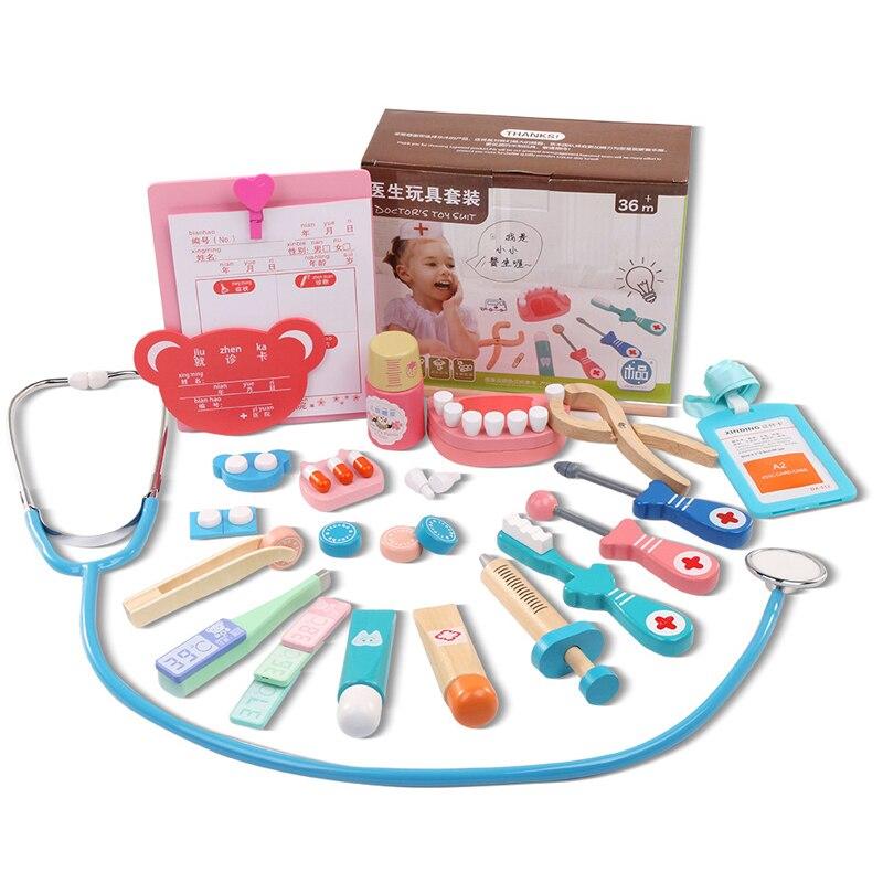 20 Teile/satz Holzspielzeug Lustige Pretend Spielen Echten Leben Cosplay Arzt Spiel Toy Zahnarzt Medizin-box Pretend Spielen Arzt Für kinder