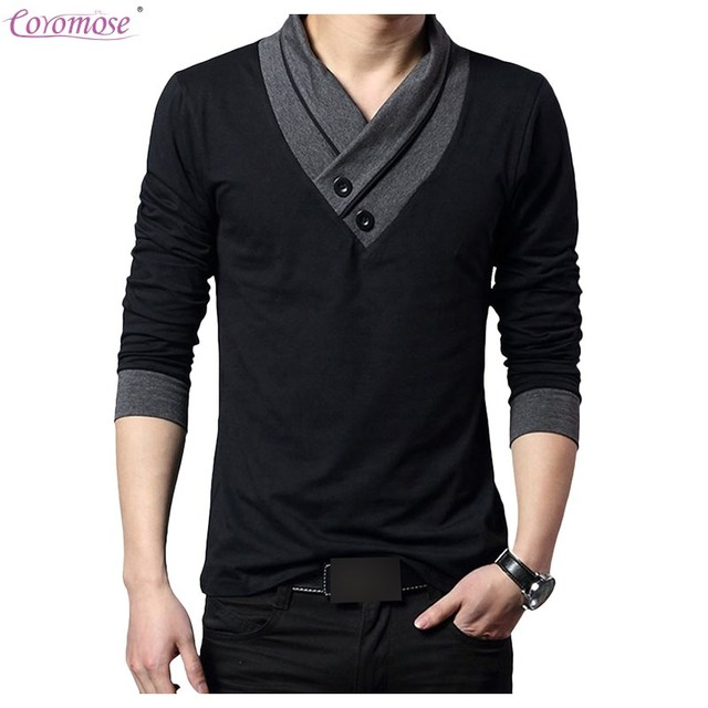 07c912187ba9 Coromose Men s Long Sleeve Casual Button V Neck Irregular Collar Slim Fit  Long Sleeve T Shirt Men Trend Casual Cotton T-Shirt