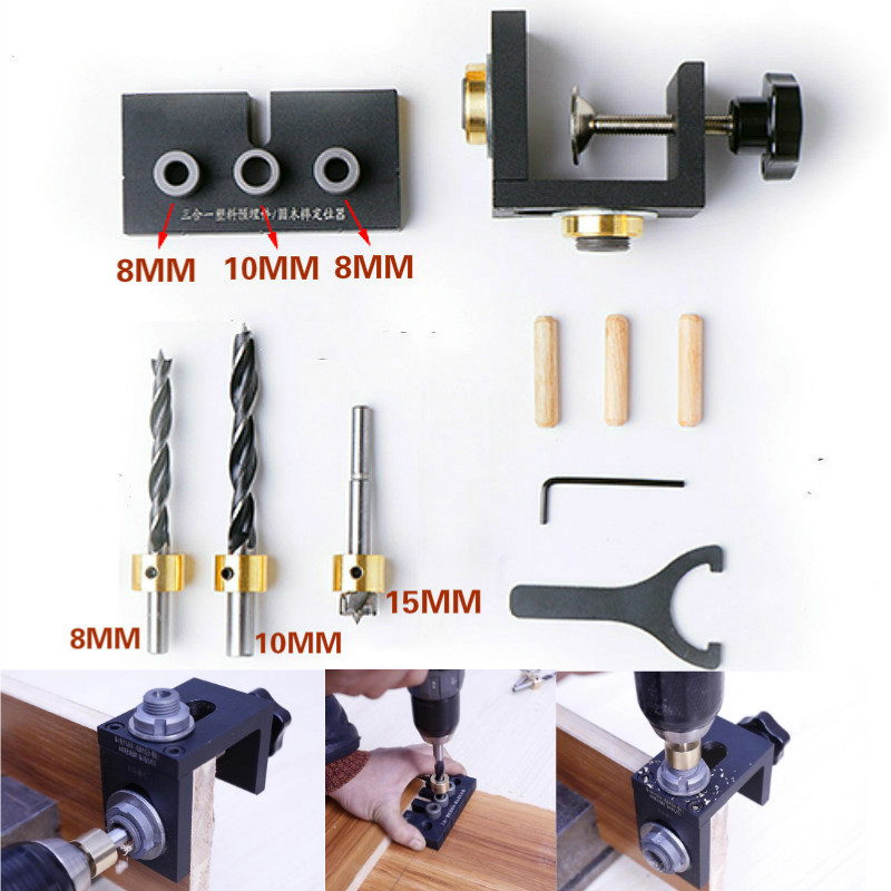 Woodworking Drilling Guide Dowel Hole Drilling Guide Jig Drill Locator Kit Carpentry Positioner Tools w/ Step Drilling Bits 6 8 10mm conductor for drilling mini pocket hole jig woodworking drill guide set locator dowel jig guide power tools