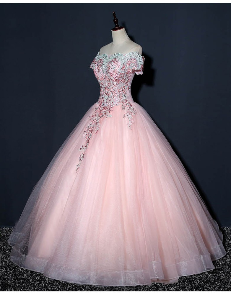 Us 989 35 Offvestido Debutante Pink Ball Gown Quinceanera Dresses Sweet 16 Dresses For 15 Years Long Prom Dress Vestido De Quinceanera 2018 In
