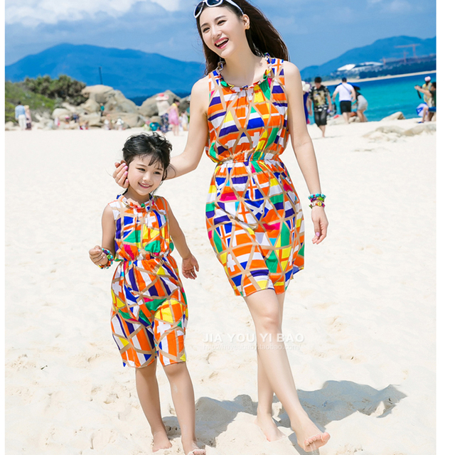 2018 Summer Parent,Child Attire Girls Beach Vest Dress Mother \u0026 Girls  Contrasting Sundress Family
