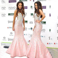 Charming Mermaid Pink Celebrity Dresses 2019 Sweetheart Off Shoulder Satin Beading New Arrival Sparkly Dresses xq96