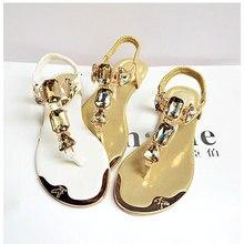 2017 Женские сандалии новые модные со стразами Женская обувь Сандалии пляжная Летняя обувь