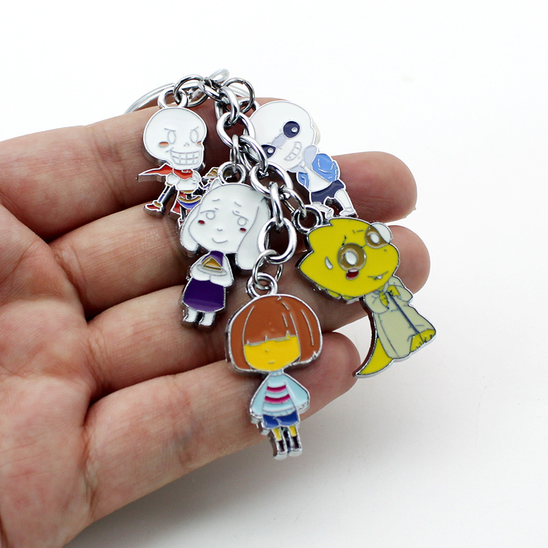 Anime Game Undertale Metal Keychain Frisk/Sans/Toriel/Papyrus/Alphys Fashion Pendant For Bag With Cosplay Accessories For Gift