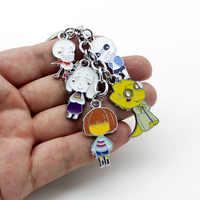 Anime jeu Undertale métal porte-clés Frisk/Sans/Toriel/Papyrus/Alphys mode pendentif pour sac avec Cosplay accessoires pour cadeau