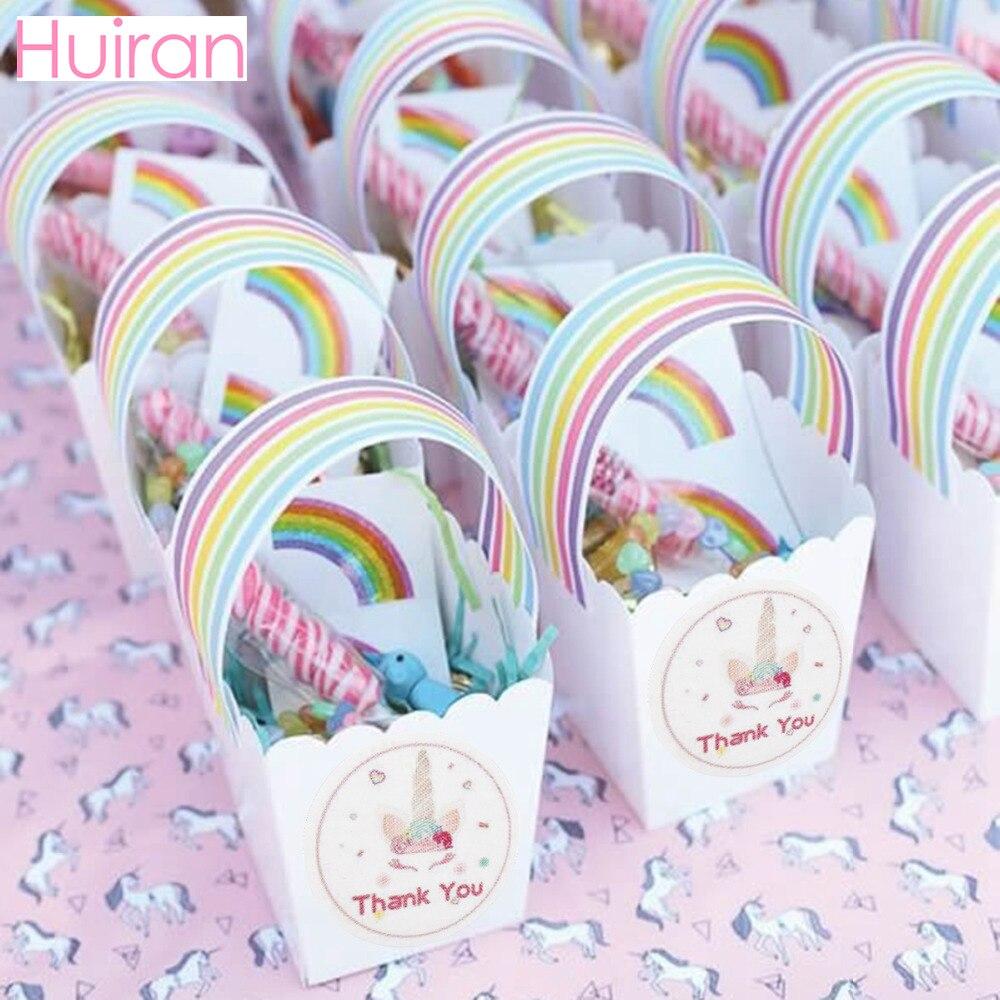 HUIRAN Unicorn Party Supplies Bottle Thank You Stickers Seal Labels Rainbow Unicorn Party Decor Unicron Birthday Party Decor