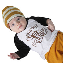 MUQGEW Happy Thanksgiving Newborn Baby Boy Girl Clothes Long Sleeve Letter Splice Tops Blouse T-shirt Hot Sale Kids Clothing