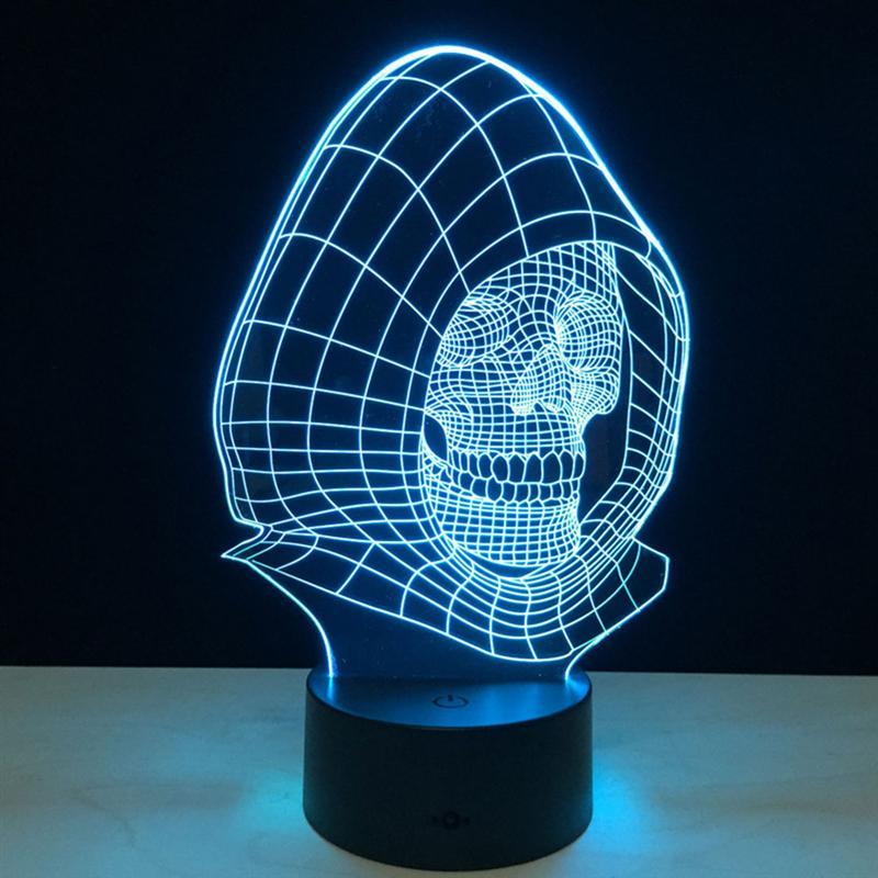 Новинка 3D Череп свет лампы светодиодный украшения фары с USB Мощность детская Ночная визуальный светодиодный Ночные огни