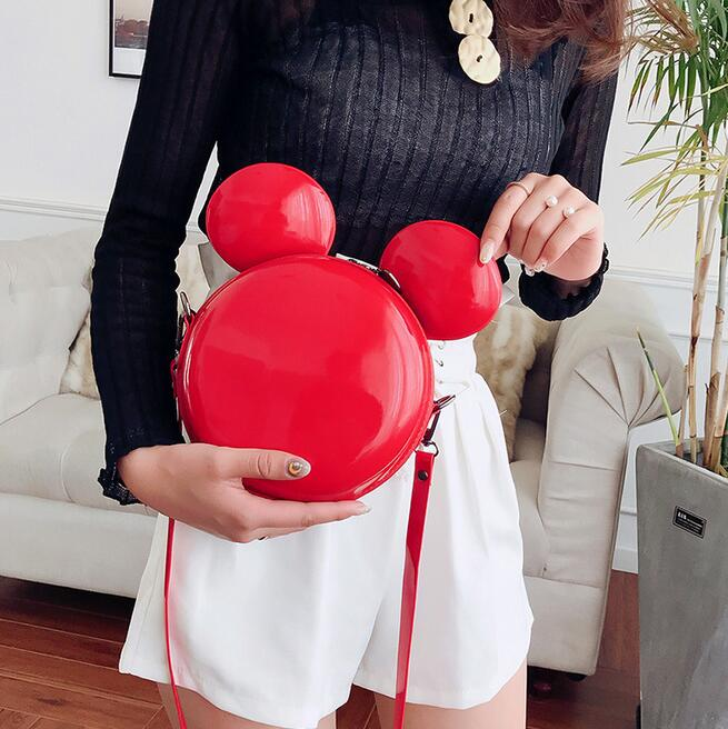 Cartoon Mickey Bag Fashion New Handbag High Quality PU Leather Shiny Mini Cute Large Ear Round Bag Shoulder Messenger Bags