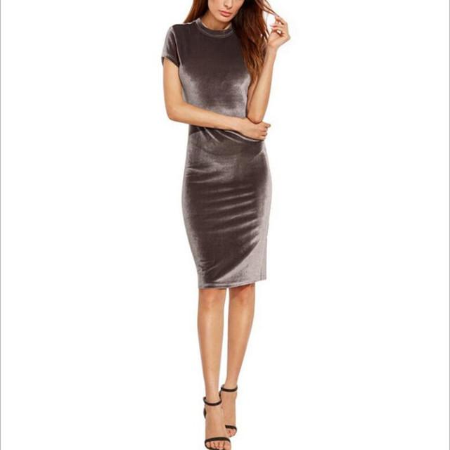 Women Brown Velvet Sheath Dresses Summer Ladies Round Neck Short Sleeve Knee Length Elegant Pencil Dress