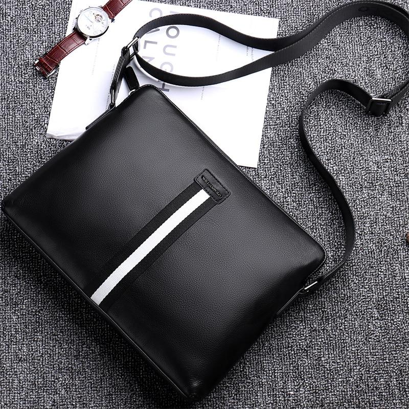 WILLIAMPOLO Men Bags Crossbody Shoulder Bag Genuine Leather Business Messenger Work Travel Office Sling with Adjustable