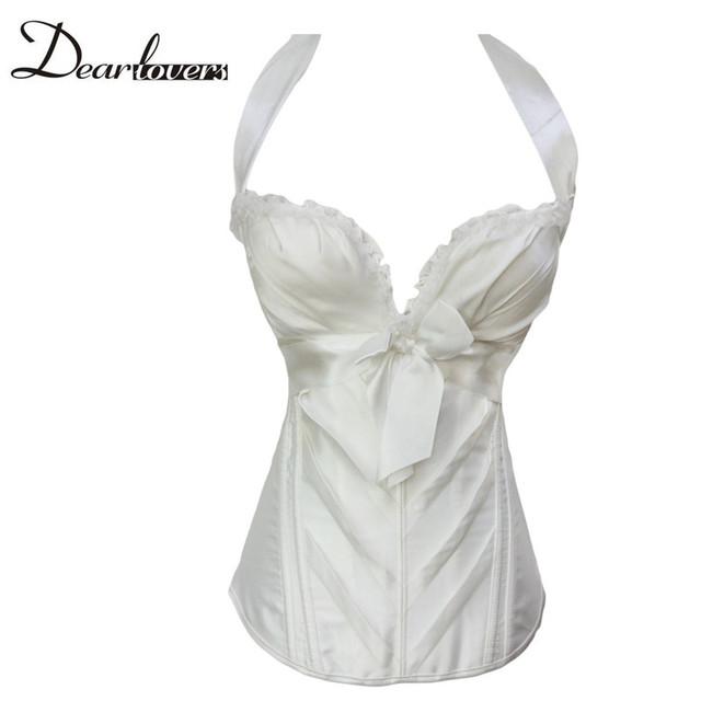 Dear lover Corsés Elegantes Negro/Blanco Nupcial Novia Halter Corsé gótico más tamaño lencería corselet top LC5360