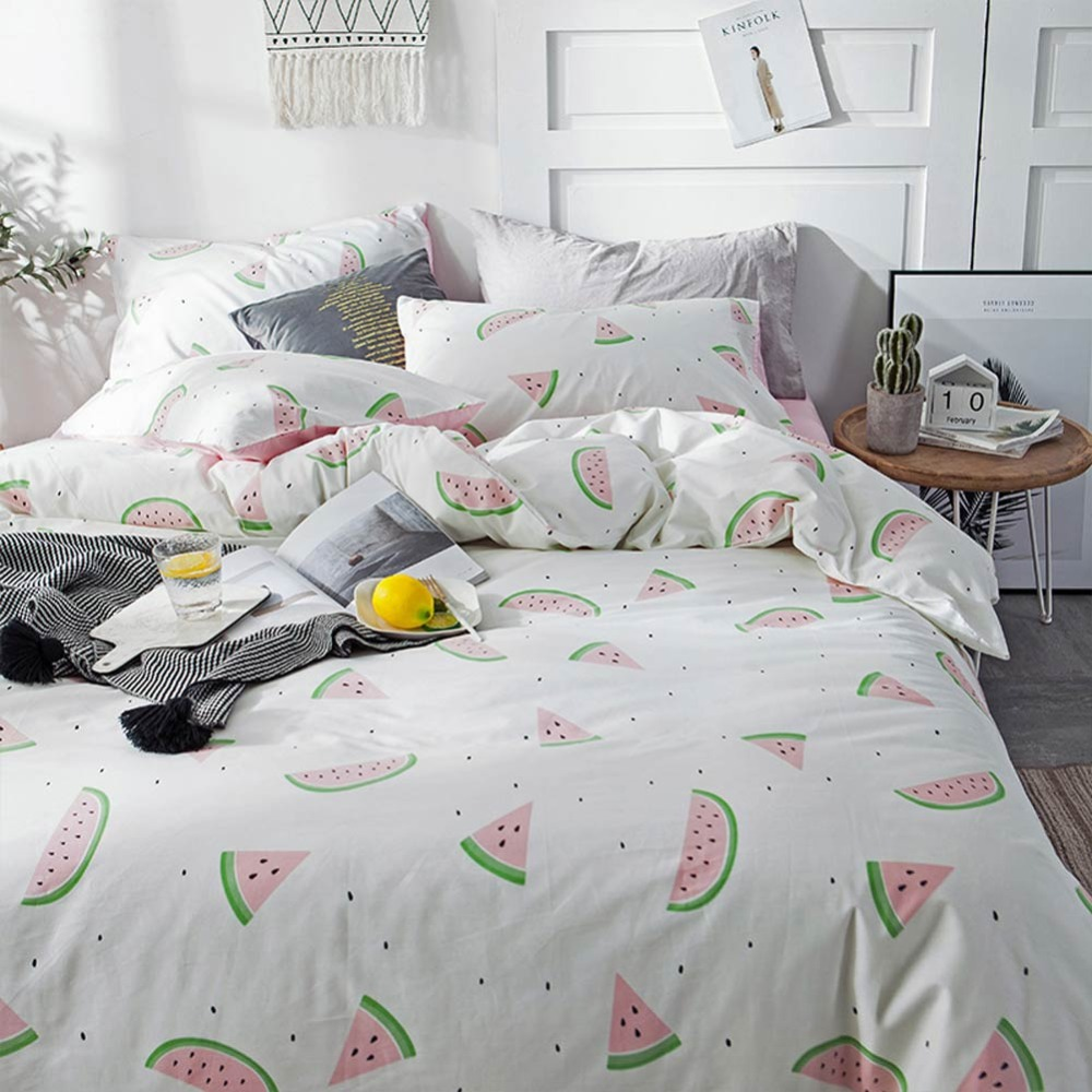 PAPA MIMA watermelon print fashion style bedding sets cotton Twin Queen Size duvet cover set bedsheet pillowcases in Bedding Sets from Home Garden