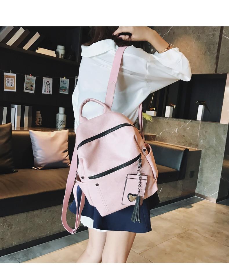 HTB12MdocMaH3KVjSZFjq6AFWpXaD Women Leather Backpack Teenage Girls School Bag Female Vintage Large Solid Soft Backpacks Mochila Black Back Pack Bags New XA86H