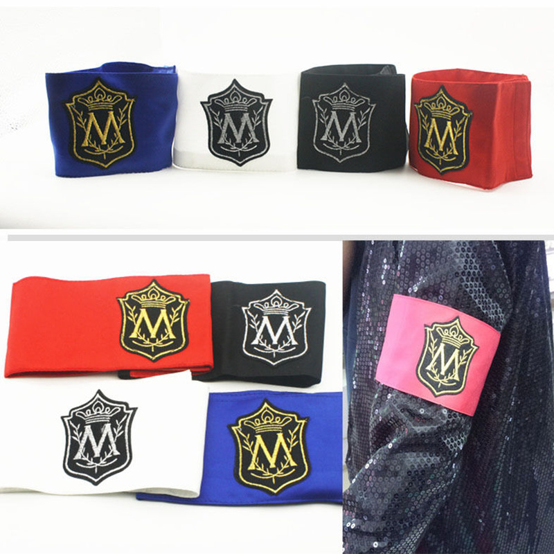 MJ In Memory Of  Michael Jackson Classic M Letter Stitchwork MagicTape Red Black Punk Fashion Printing Arm-band Arm Warmers
